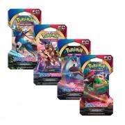 Kit com 4 Blisters Pokémon Espada e Escudo - 24 Cartas