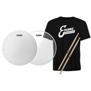 Kit Evans Pele 14 Hd Dry + Hazy 300 + Camiseta + Baqueta 5A