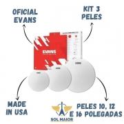 Kit Pele Tom 10 12 16 Evans Uv2 Porosa Duplo Filme Level 360