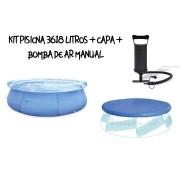 Kit Piscina Inflável 3618 Litros + Capa + Bomba de Ar VOLLO