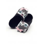 Meia Sapatilha 3D Puket Baby Preto Cachorrinho - 15 a 18
