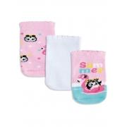 Pack com 3 Meias Puket Pinguin Rosa e Branca - 5 a 8 meses