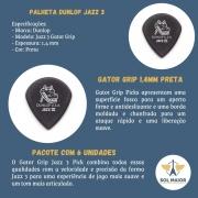 Palheta Dunlop Jazz 3 Gator Grip 1,4mm Preta Com 6 Unidades