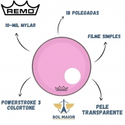 Pele Remo Bumbo 18 Powerstroke 3 Colortone Transparente Rosa