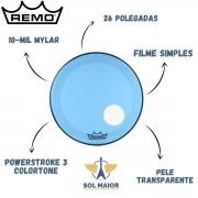 Pele Remo Bumbo 26 Powerstroke 3 Colortone Transparente Azul