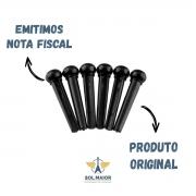 Pino Plastico De Violão Aço Smart C/6 Plástico Preto