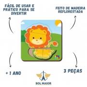 Quebra-Cabeça Baby Leão 3 peças - Babebi 8015