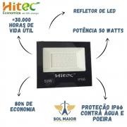 Refletor de Led 50W Branco Frio IP66 Proteção D'agua - Hitec