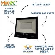 Refletor de Led 200W Branco Frio IP66 Proteção D'agua Hitec