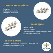 Tarraxa Niquelada Smart Violão Nylon Pino Grosso TSMPG