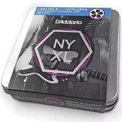 Kit Cordas Daddario Guitar 09 Exl120 B + Nyxl 0942 + 10 Palhetas