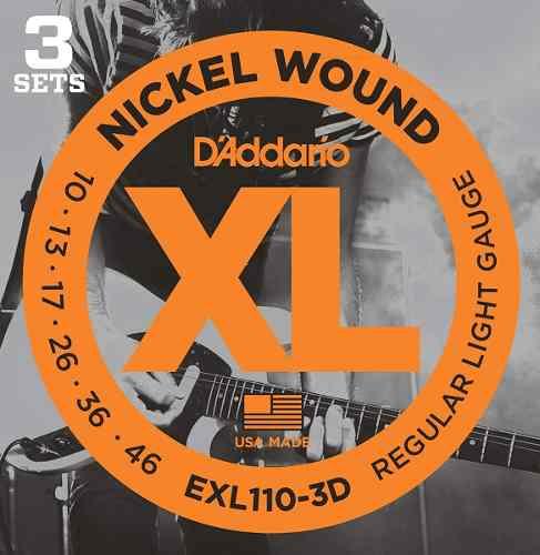 Kit 3 Encordoamento Daddario Para Guitarra Exl110-3d 010-046