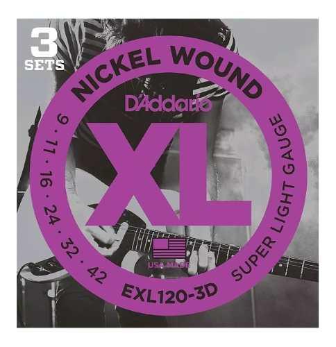 Kit 3 Encordoamento Daddario Para Guitarra Exl120 3d 009-042