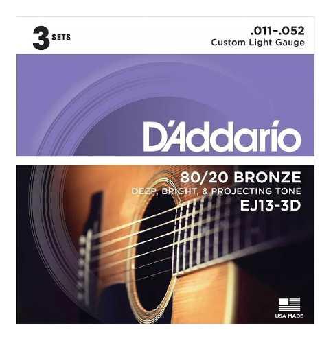 Pack Kit Com 3 Encordoamento Daddario Violão Aço Ej13-3d 011-052