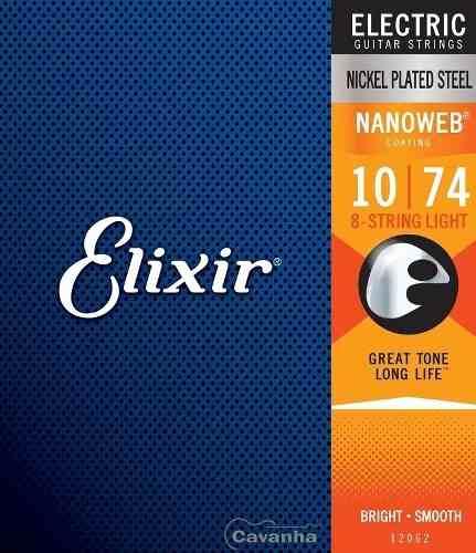 Encordoamento Elixir Guitarra Nanoweb Light 8 Cordas (12062)
