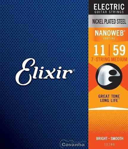 Encordoamento Elixir Guitarra Nanoweb Medium 7 Cordas 12106