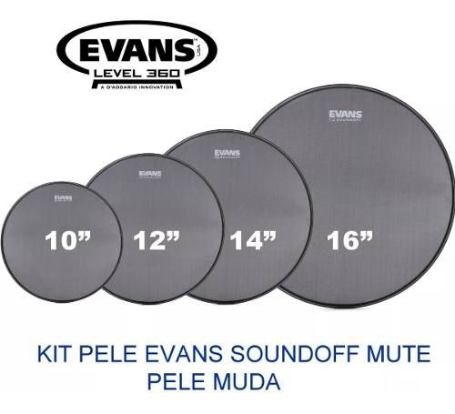 Kit Pele Muda Tom Caixa 10 12 14 16 Evans Soundoff Mute