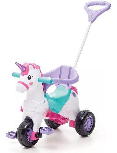 Triciclo Infantil Empurrador Unicórnio Fantasy Calesita Rosa