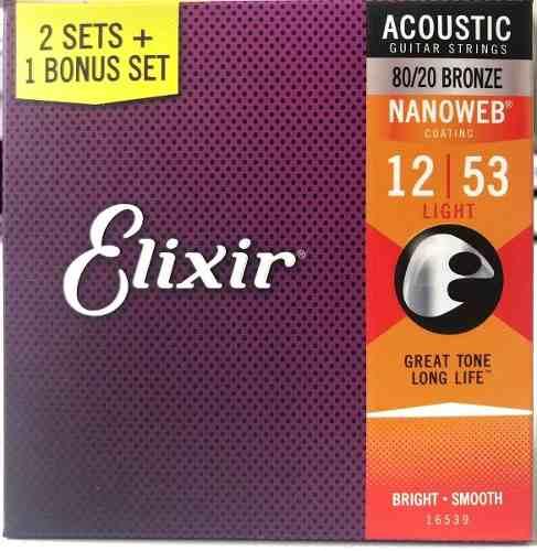 Cordas Elixir 12/53 Pack 3 Violão Aço Nanoweb 16539
