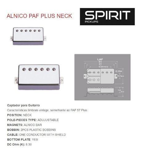 Captador Para Guitarra Humbucker Spirit Alnico Paf Plus Neck