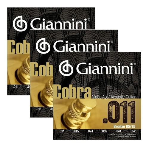 3 Encordoamento Violão Aço 011 Cobra Series Ca82sl Giannini