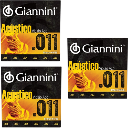 3 Encordoamento Violão Aço 011 Giannini Gespw - Loja