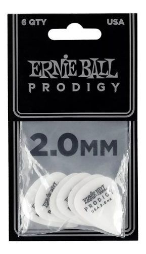 Palhetas Standard Prodigy 2.0mm Brancas Pct C/6 Ernie Ball