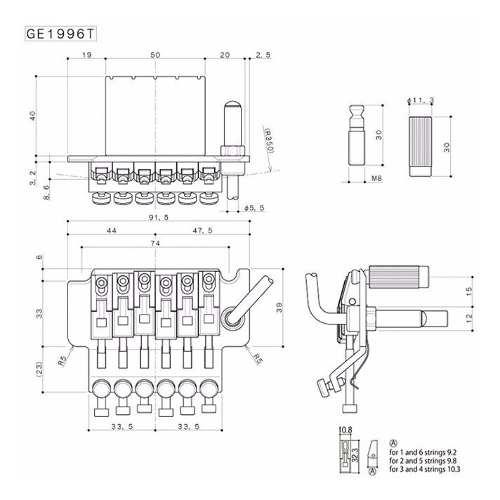 Ponte Floyd Gotoh Ge1996t/ghl-2-c (43mm Fixação Frontal)