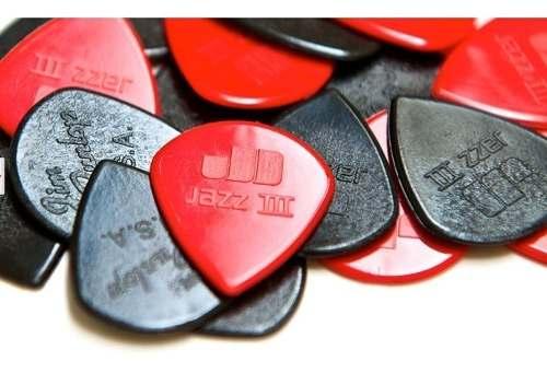 Palhetas Dunlop Jazz Iii (3) - 6 Unidades Original preta e vermelha
