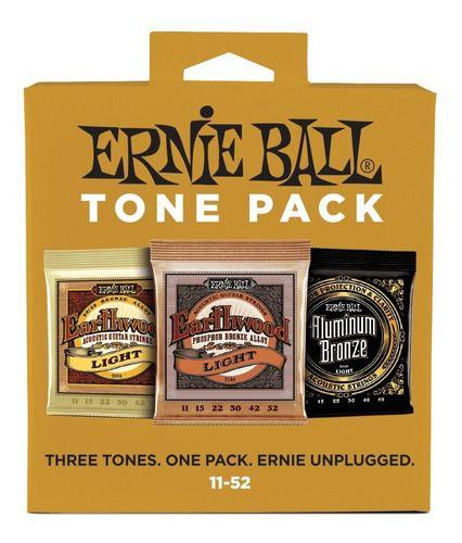 Tone Pack Acoustic Ernie Ball Violao Aço 011 3313 Kit Com 3