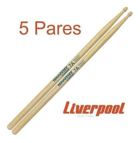 Kit Com 5 Pares De Baquetas 7a Tennessee Hickory Liverpool