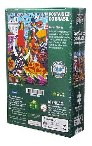 Quebra Cabeça 500 Peças Postais Brasil Festa Típicas Toyster