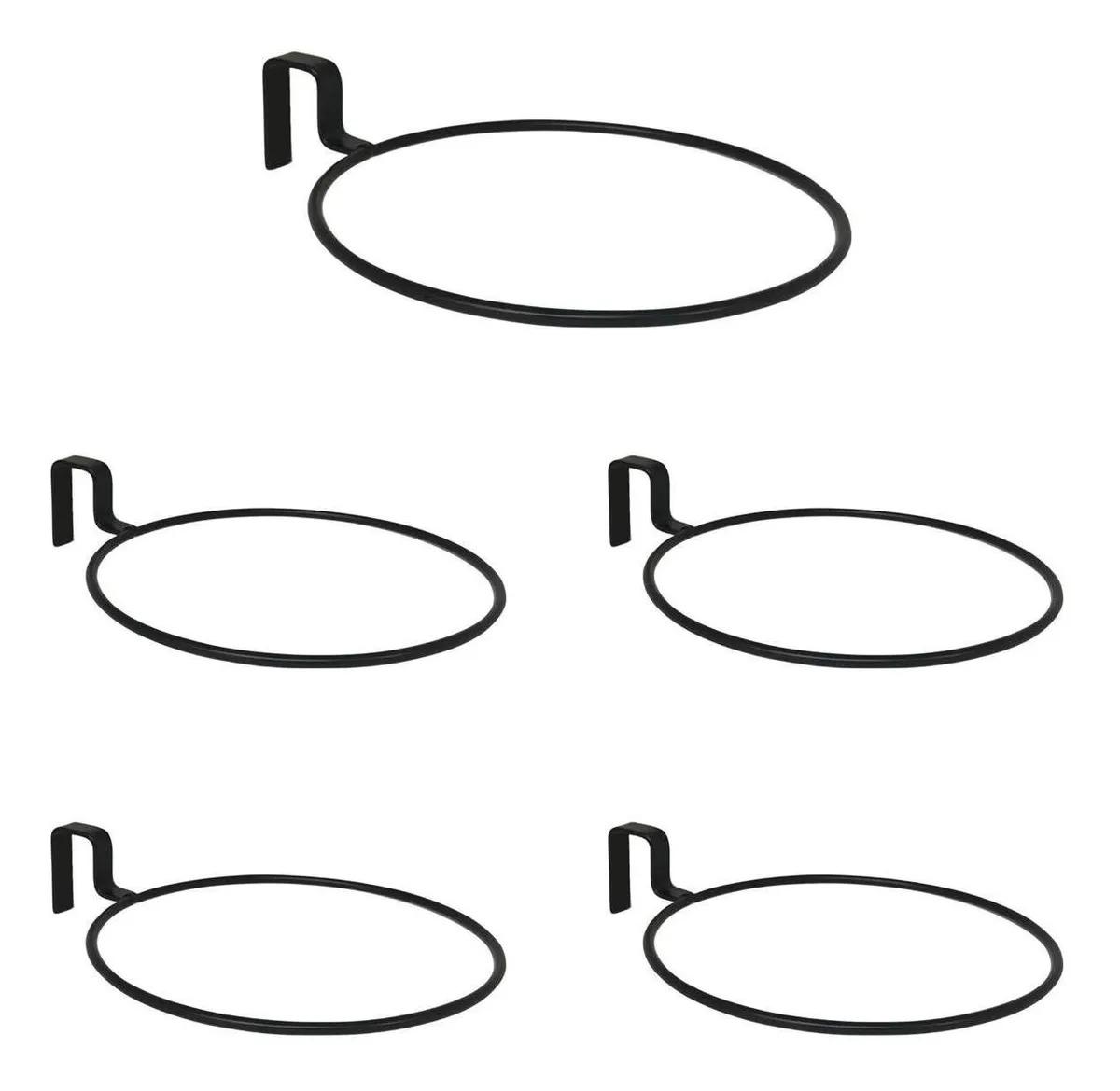 5 Suporte Anel Raiz 21 cm Treliça Vaso Auto Irrigável Preto Vasos N04