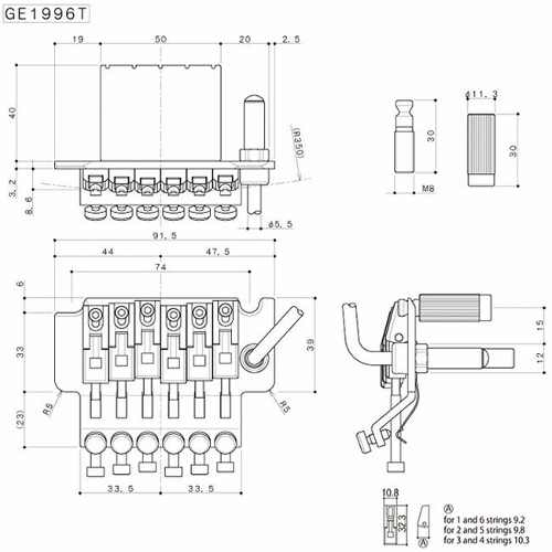 Tremolo Completo Ge1996t/fgr-2 Cromado 41mm Gotoh