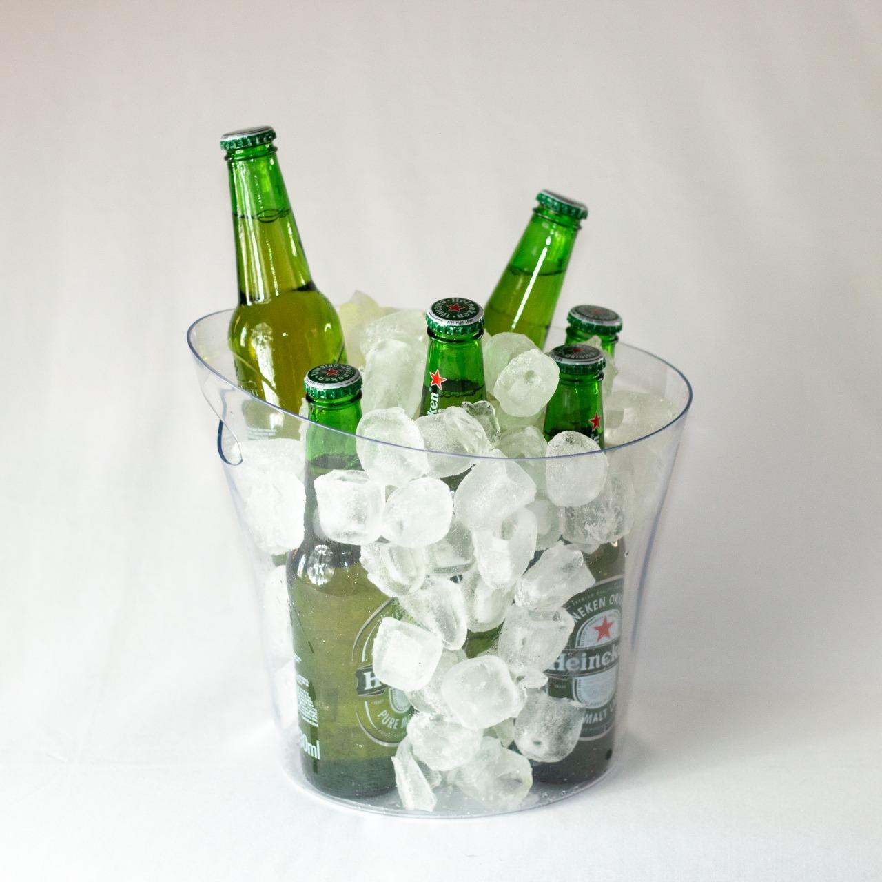 6 Baldes de Gelo 4,5 L para Cerveja Baldinhos Gelo + 2 Copos Long Drink