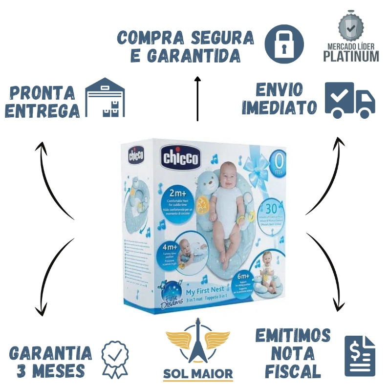 Almofada 3 em 1 My First Nest Azul (0m+) - Chicco