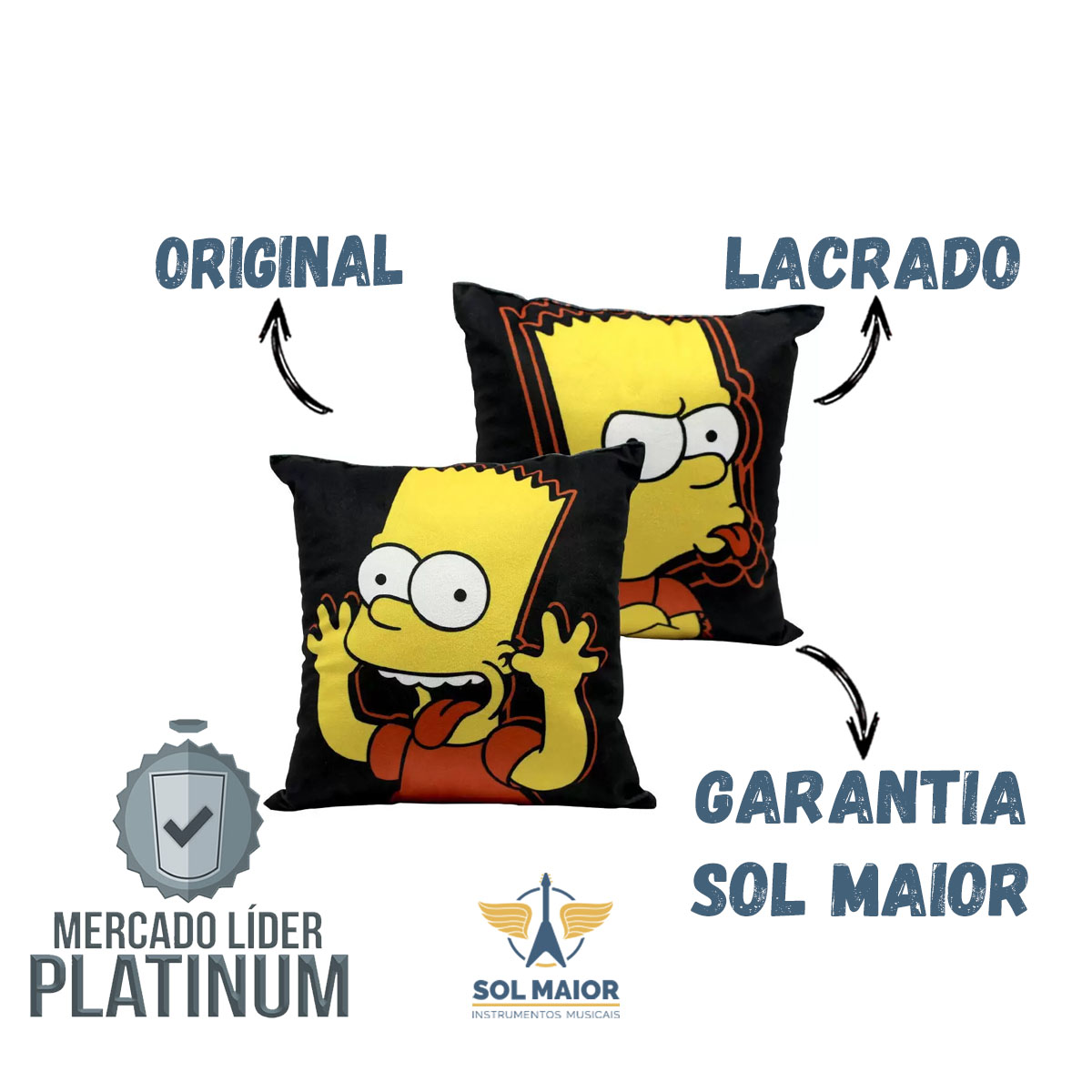 Almofada Fibra Veludo 25x25cm Bart Simpson - Zona Criativa