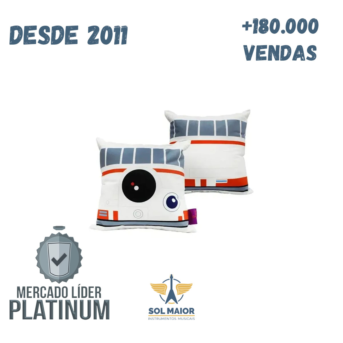 Almofada Fibra Veludo 25x25cm BB8 Star Wars - Zona Criativa