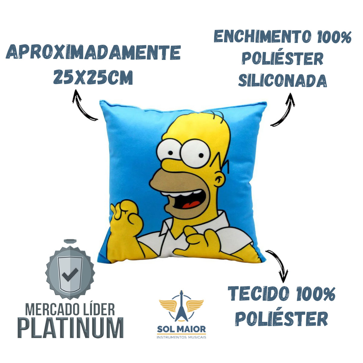 Almofada Fibra Veludo 25x25cm Homer Simpson - Zona Criativa