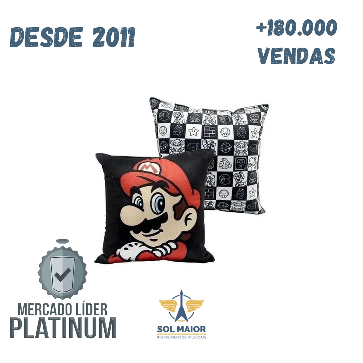 Almofada Fibra Veludo 25x25cm Mario - Zona Criativa