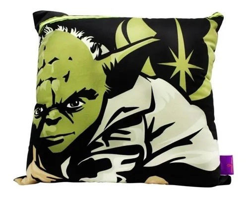 Almofada Fibra Veludo 40x40 Cm Mestre Yoda Star Wars - Zona Criativa