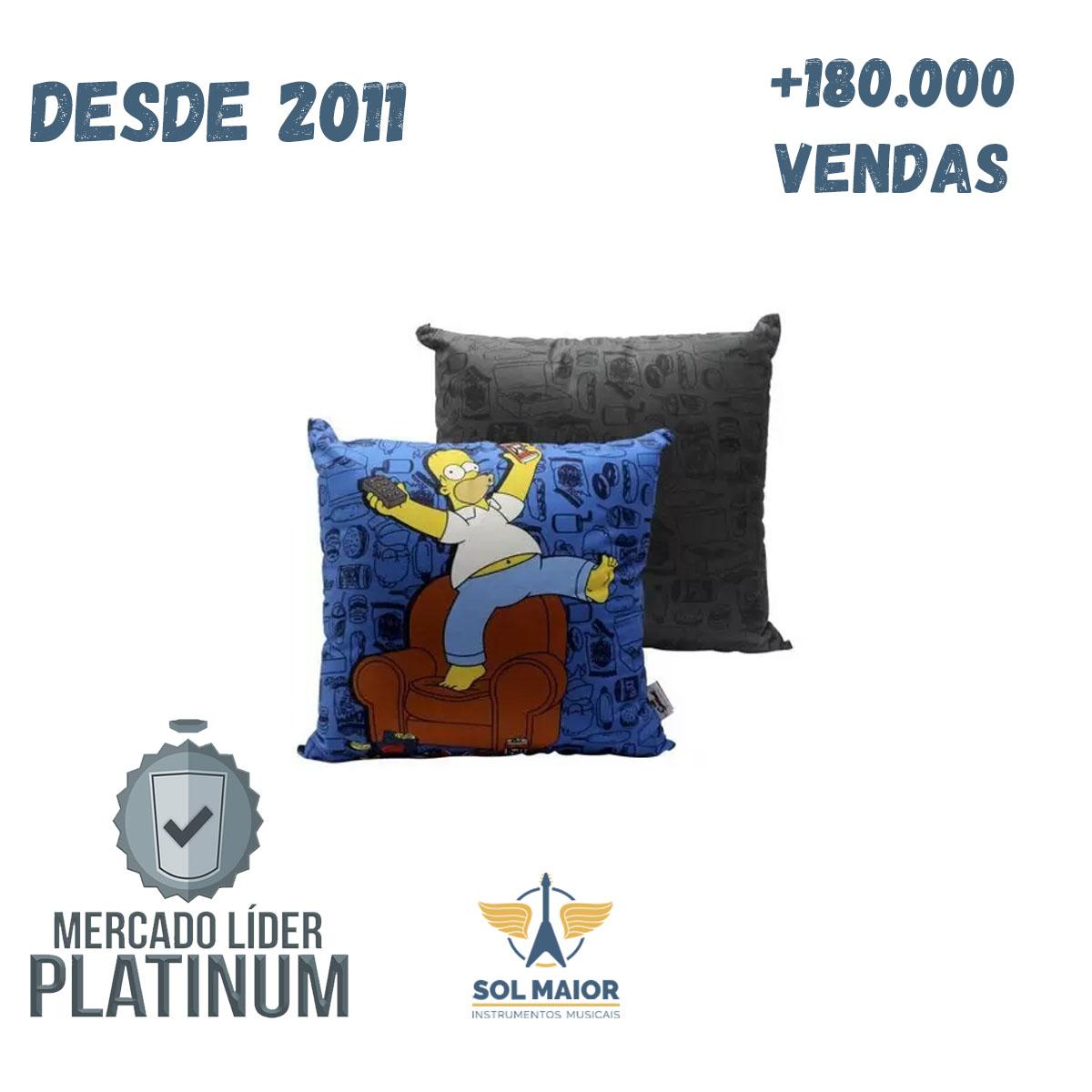 Almofada Fibra Veludo 40x40cm Homer Comida - Zona Criativa