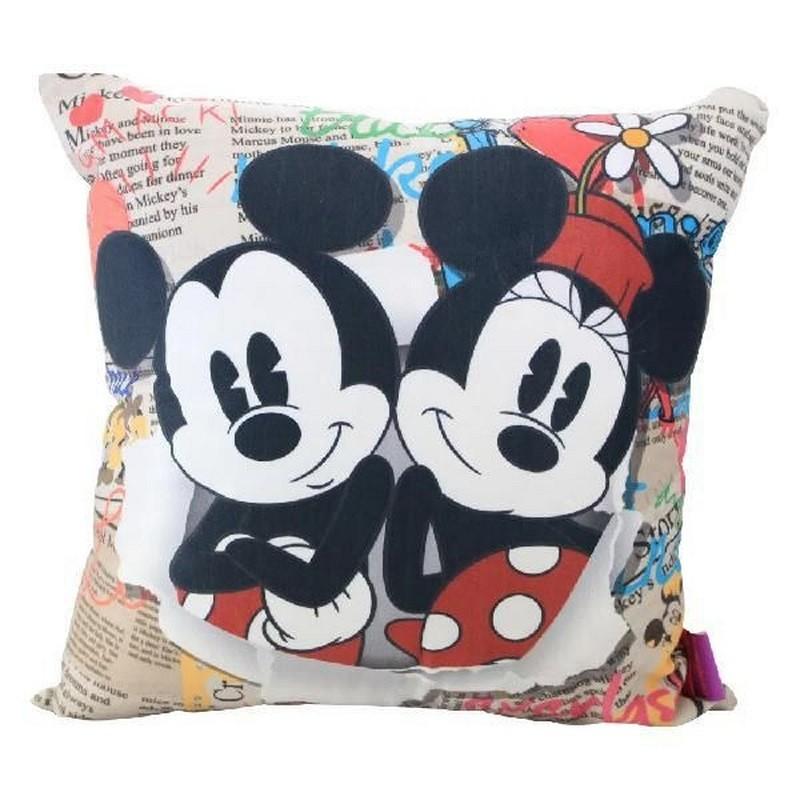 Almofada Fibra Veludo 40X40Cm Mickey E Minnie Disney Jornal