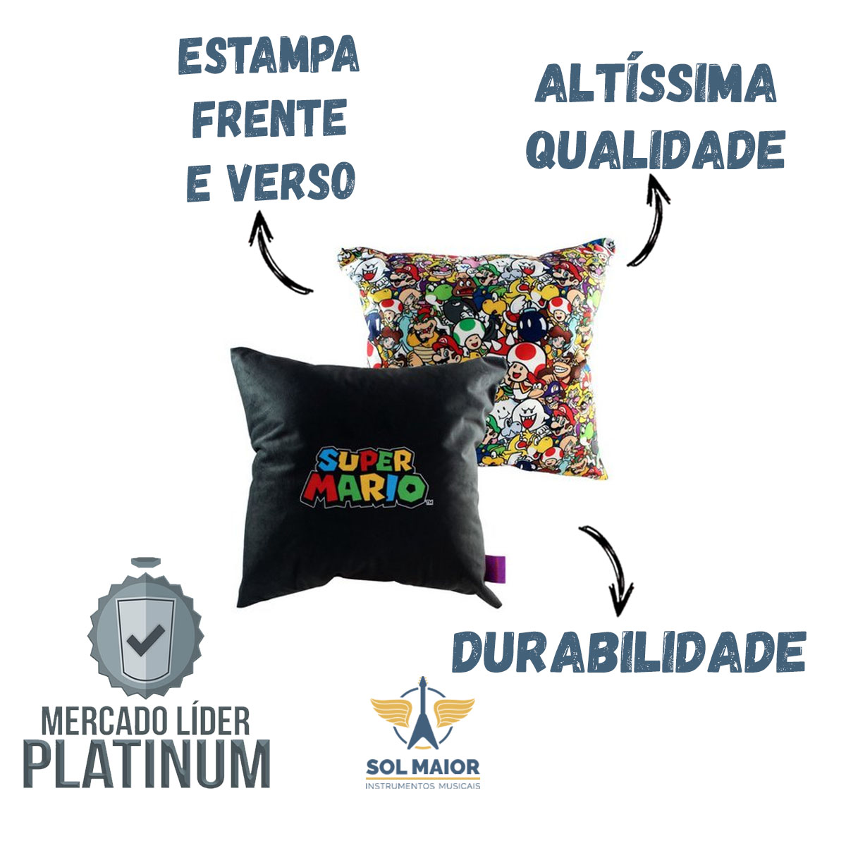 Almofada Fibra Veludo 40x40cm Pattern Mario Bros - Zona Criativa