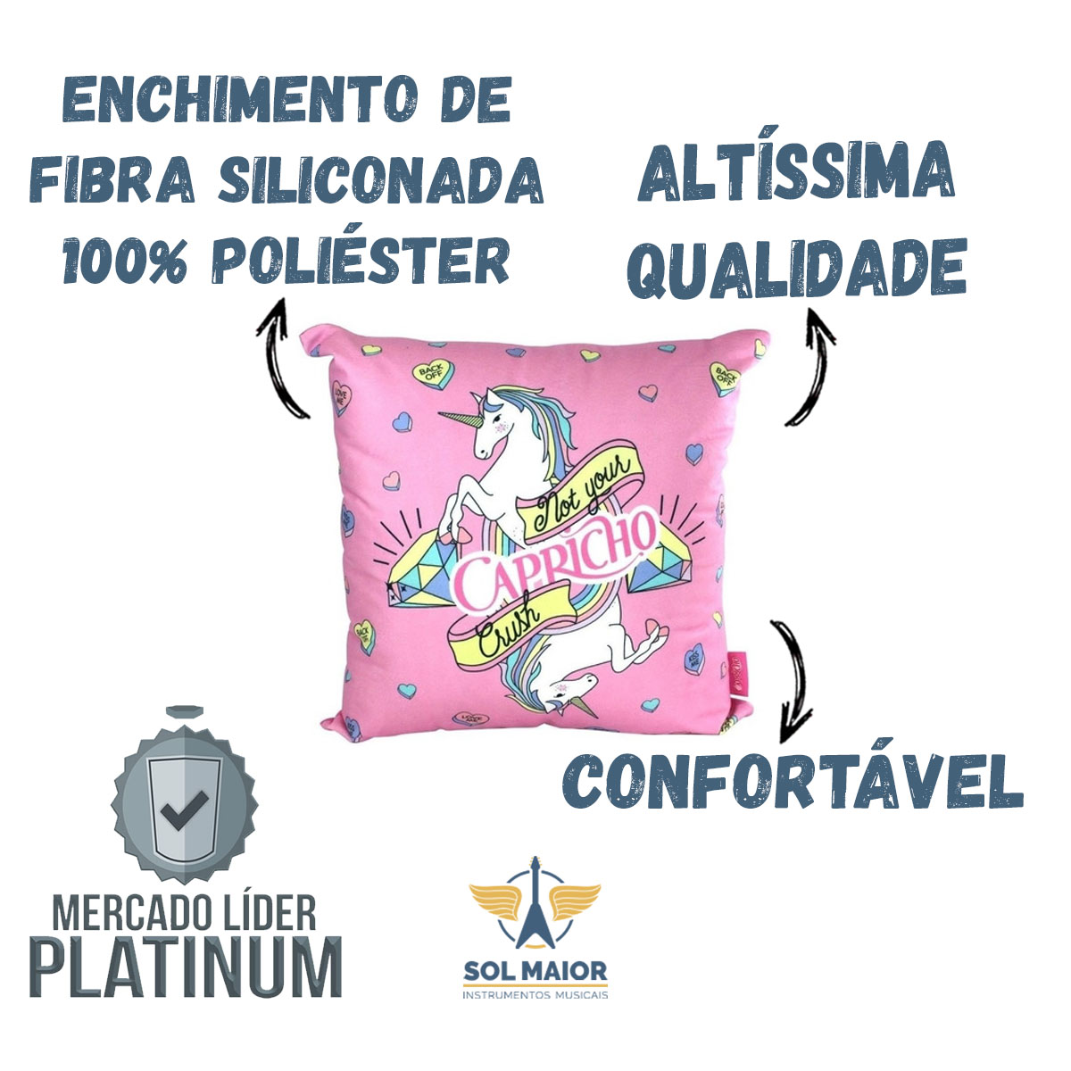 Almofada Fibra Veludo 40x40cm Unicornio Fofinho - Zona Criativa
