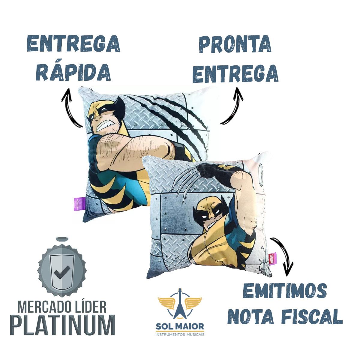 Almofada Fibra Veludo 40x40cm Wolwerine Metal X-Men Zona Criativa