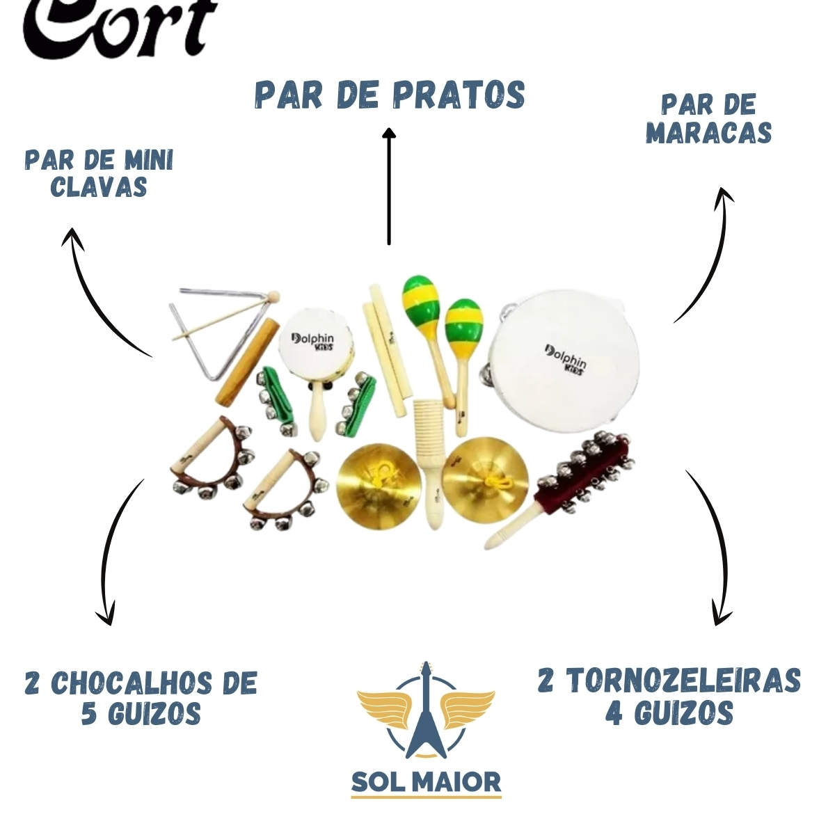 Bandinha C/10 Instrumentos Infantis C/Bolsa - DOLPHIN 8458