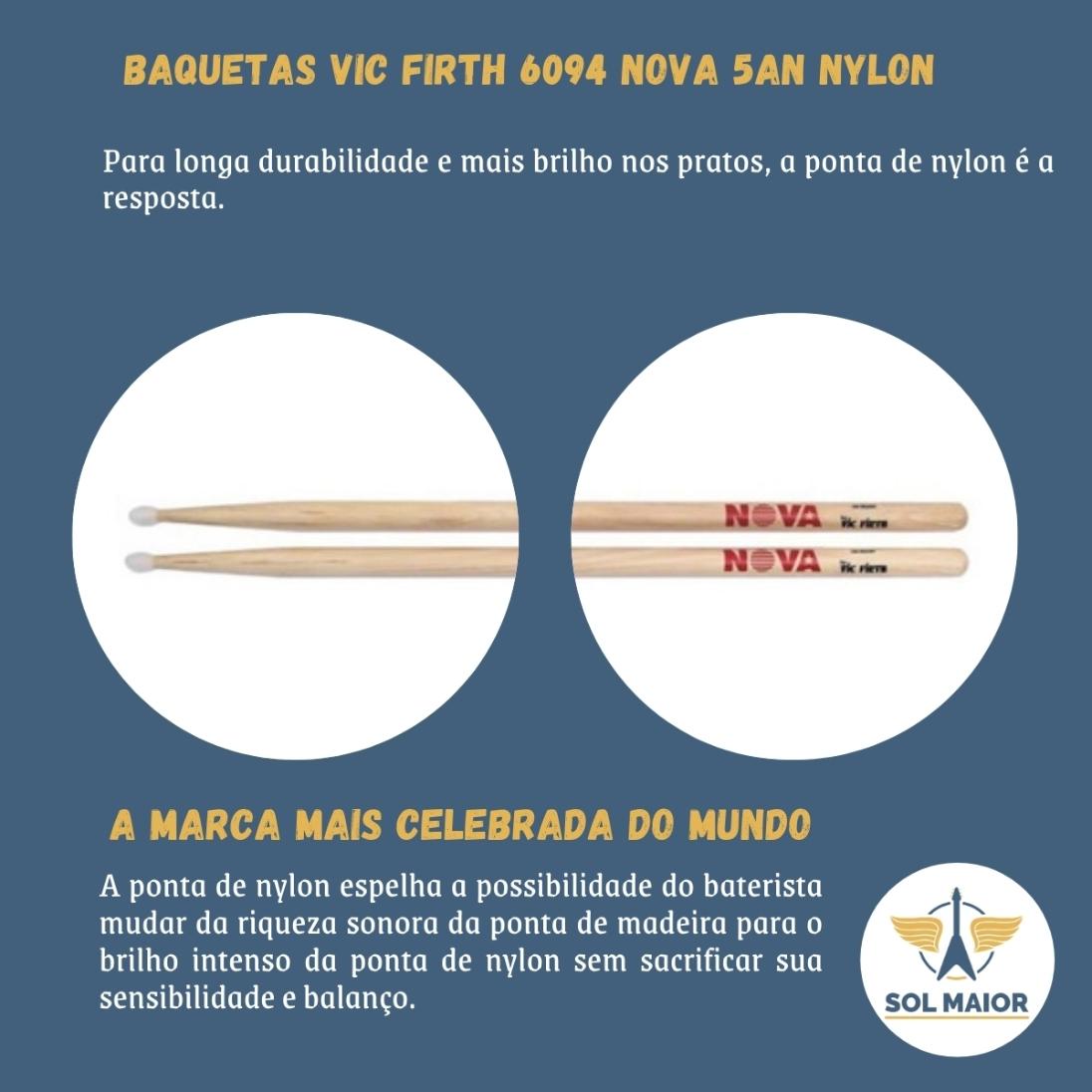 Baqueta NOVA N5AN Ponta de Nylon  N5AN By Vic Firth