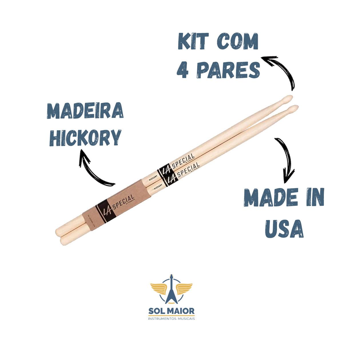 Baqueta Pro Mark La Special Hickory 5a Ponta Madeira 4 Pares