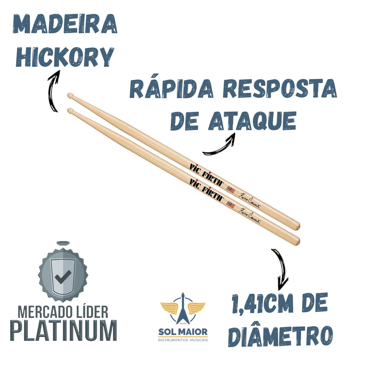 Baqueta Signature Keith Carlock SKC Ponta Madeira VIc Firth